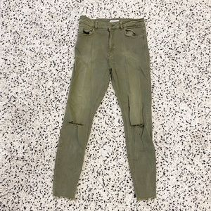 High rise Zara green distressed jeans